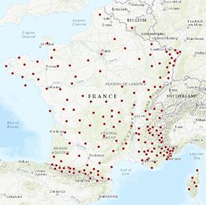 Résif-RLBP : carte du réseau instrumental